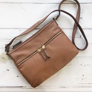 Fossil pebble leather Crossbody Bag congnac